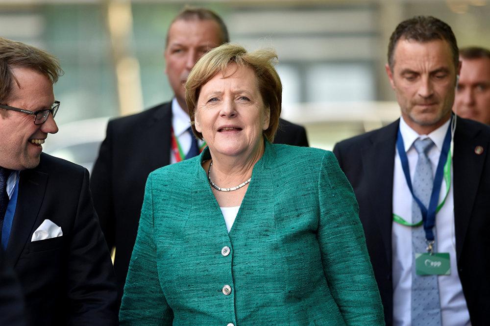 La cancelliera tedesca Angela Merkel alla riunione del Partito Popolare Europeo a Bruxelles.