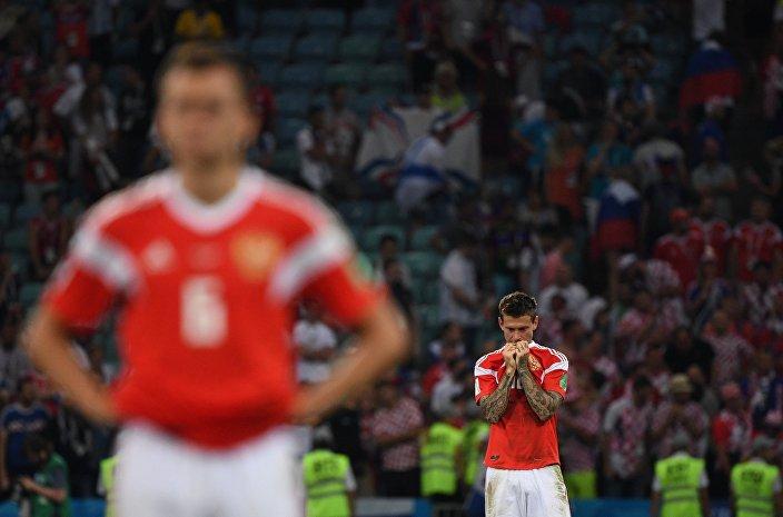 La delusione dei giocatori russi dopo l'amaro epilogo ai rigori