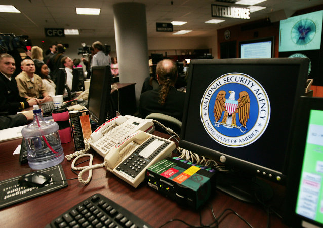 A computer workstation bears the National Security Agency (NSA) logo inside the Threat Operations Center inside the Washington suburb of Fort Meade, Maryland