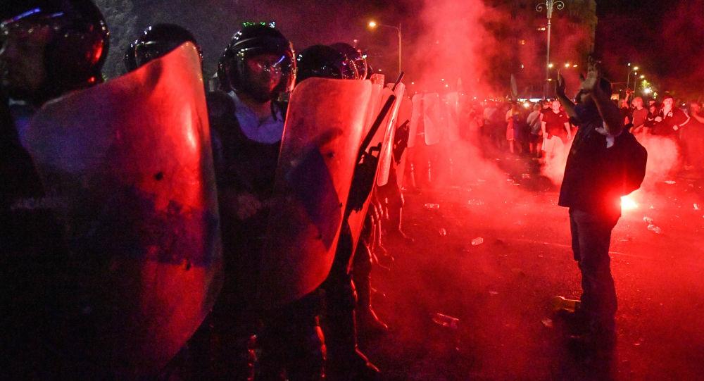 Proteste contro il governo a Bucarest, Romania, il 10 agosto del 2018