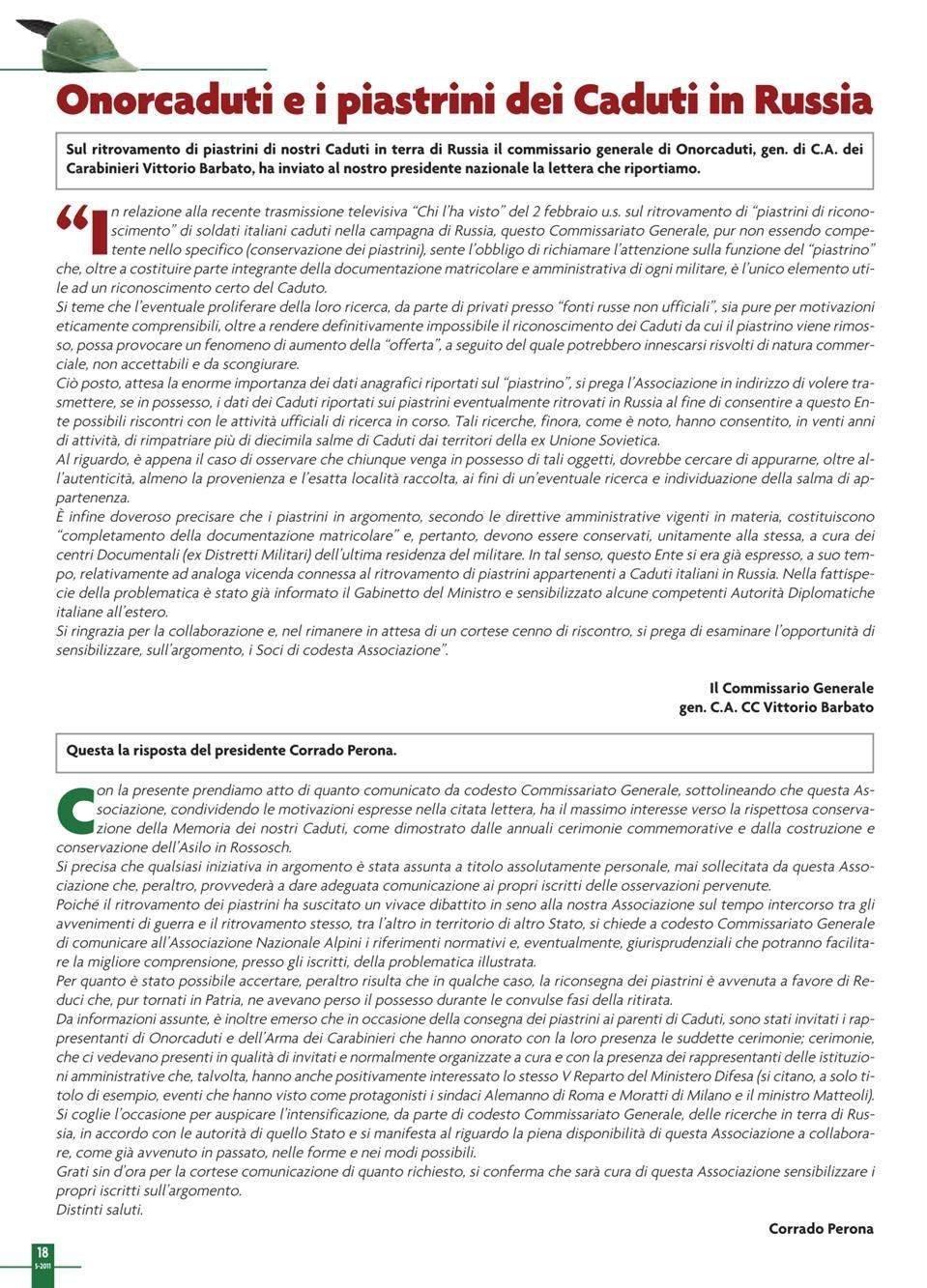 ANA-Onorcaduti, L'Alpino - Maggio 2011, pag. 18