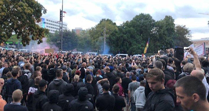 Proteste a Chemnitz (foto d'archivio)