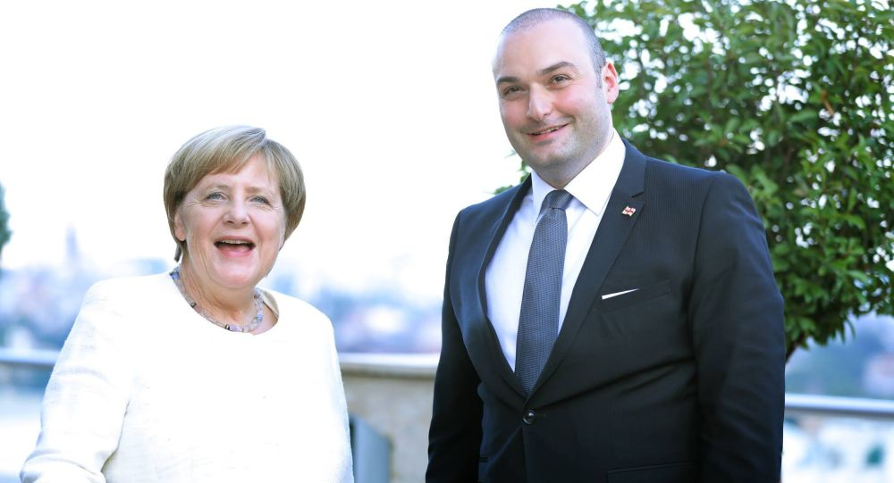 Angela Merkel e Mamuka Bakhtadze, il primo ministro georgiano