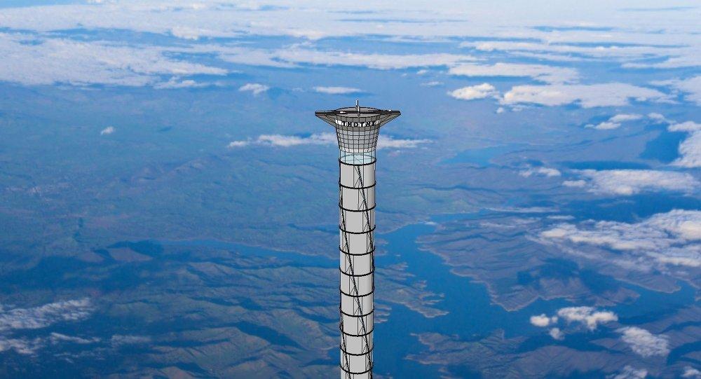 Disegno teorico di un ascensore spaziale.