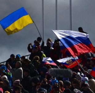 Le bandiere ucraina e russa