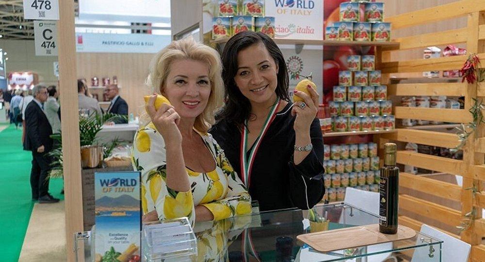 Uno degli stand del padiglione italiano a World Food 2018 di Mosca