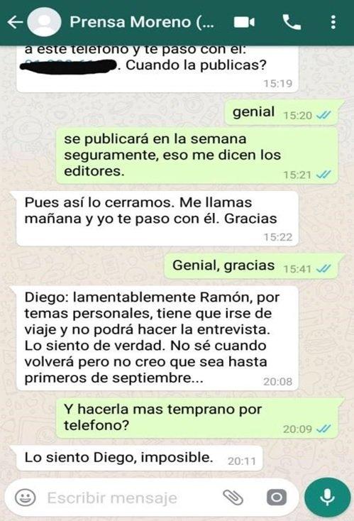 Schermata della conversazione su WhatsApp