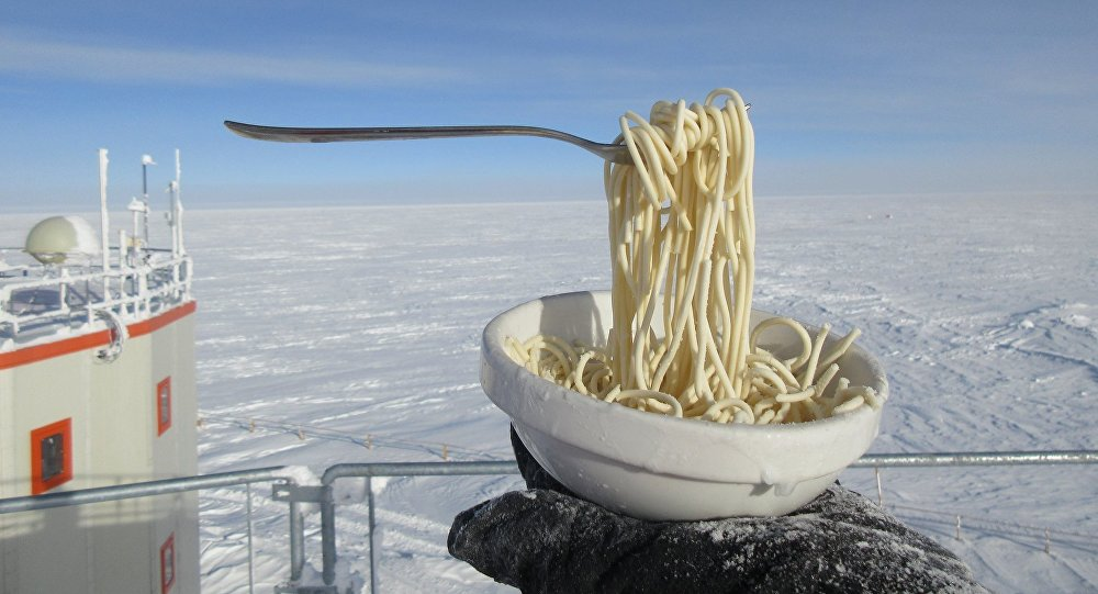 Spaghetti gelati al Polo Sud