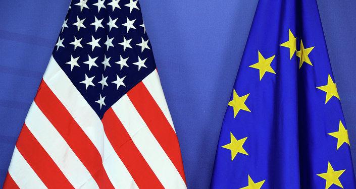 Bandiere USA e UE