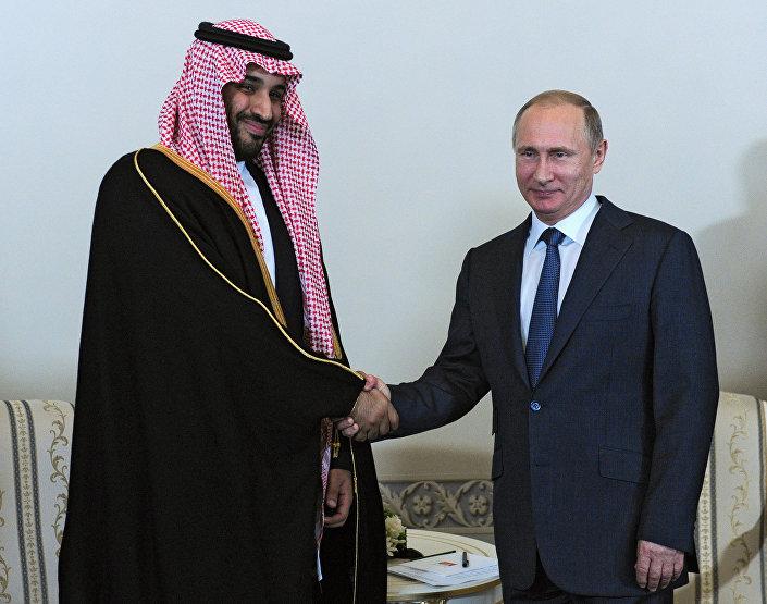 Mohannad bin Salman Al Saud e Vladimir Putin al forum di San Pietroburgo