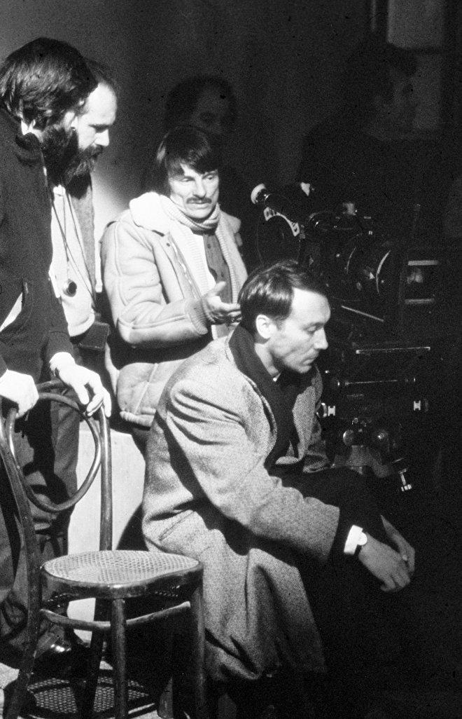 Andrey Tarkovsky durante le riprese del film Nostalghia, 1983.