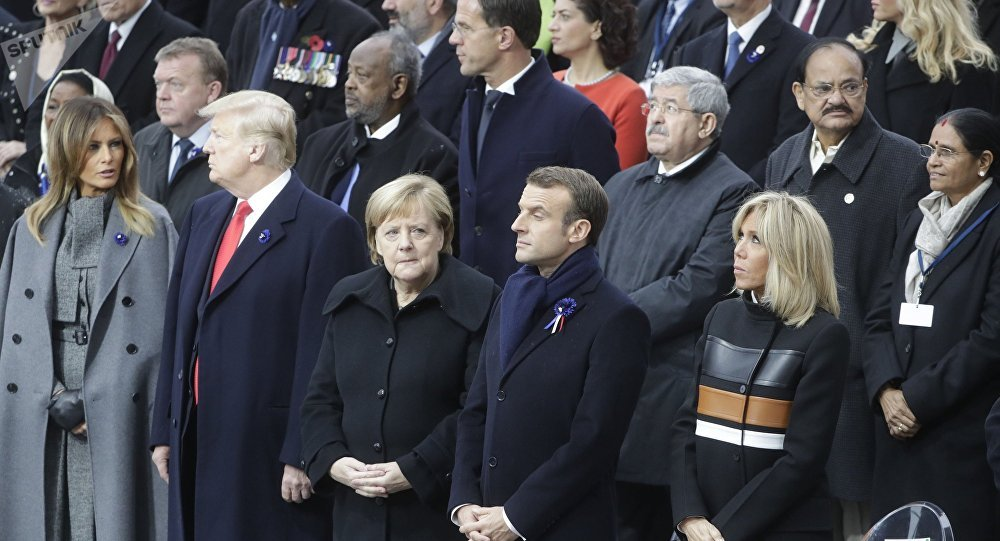 Leader mondiali all'Eliseo per celebrare 100° anniversario armistizio 1° Guerra Mondiale
