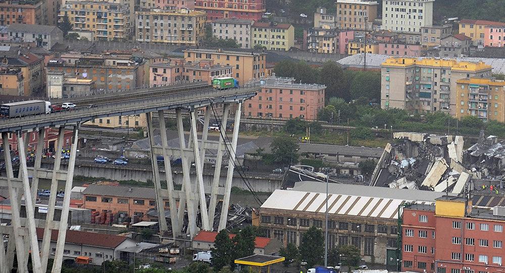 Quel che resta del Ponte Morandi a Genova