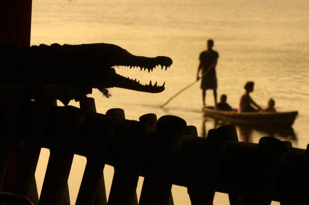 Uomini pescano vicino a un coccodrillo a Barra de Santiago, Salvador.