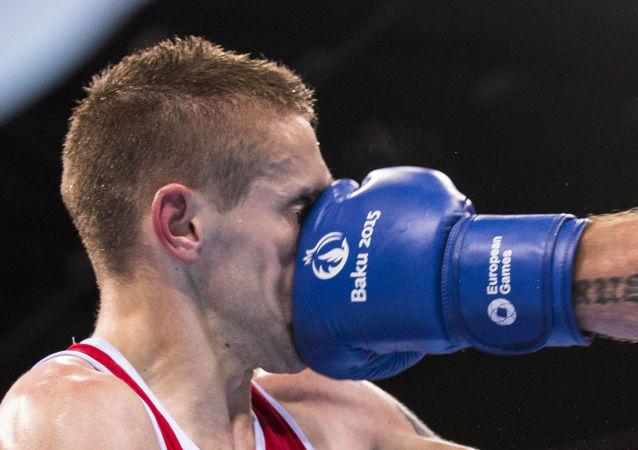 Un incontro di boxe ai Giochi Europei di Baku 2015.