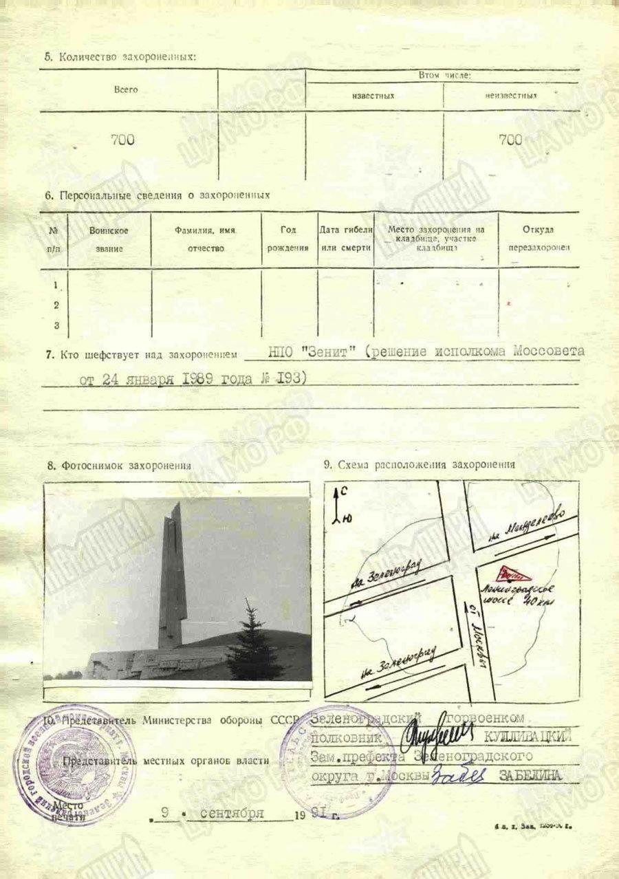 La scheda di registrazione militare di sepoltura dei soldati sovietici