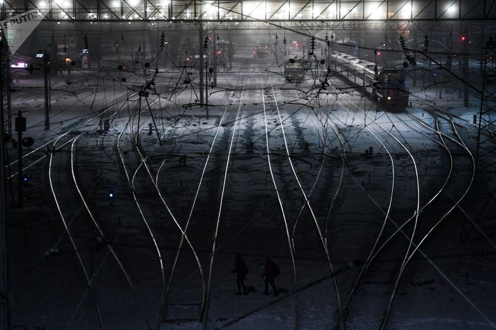 I treni alla stazione di Novosibirsk.