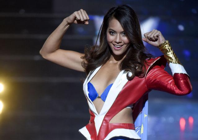 Miss Taiti Vaimalama Chaves al concorso di bellezza Miss Francia 2019 a Lille.