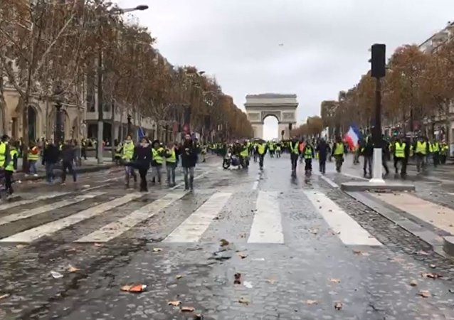 Gilet gialli sugli Champs Elysées (foto d'archivio)