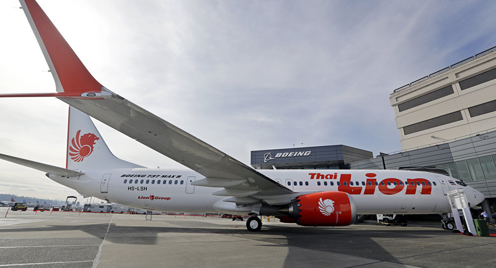 This March 21, 2018, file photo shows Boeing's first 737 MAX 9 jet at the company's delivery center before a ceremony transferring ownership to Thai Lion Air in Seattle