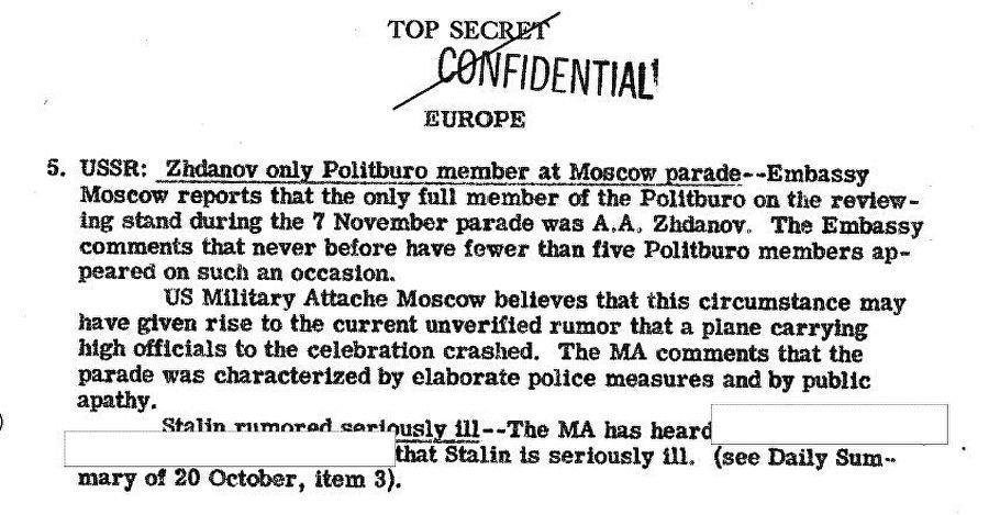Il rapporto del CIG datato 12 novembre del 1946 sulla malattia di Stalin
