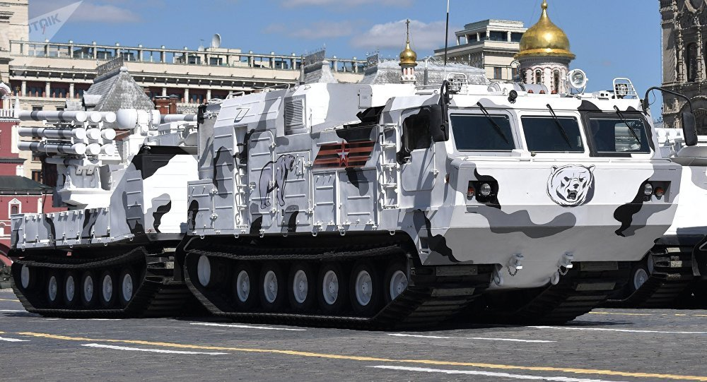 A Pantsir-SA air defense system based on the chassis of the DT-30 all-terrain tracked vehicle during the final rehearsal of the military parade in Moscow marking the 72nd anniversary of the victory in the Great Patriotic War of 1941-1945