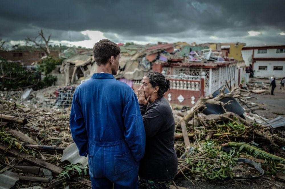 Le conseguenze del tornado a Havana, Cuba.
