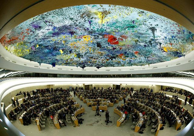 Panoramica del Consiglio dei diritti umani delle Nazioni Unite a Ginevra, in Svizzera, 6 giugno 2017