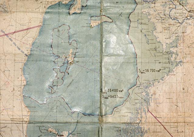 Mappa del lago di Aral nel 1964