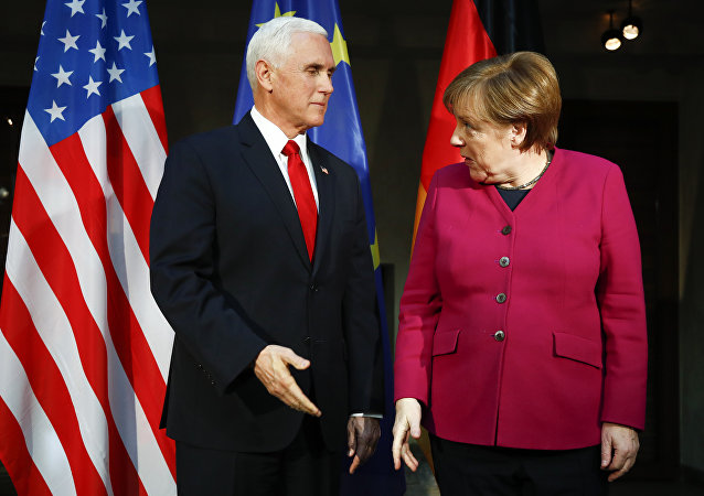 German Chancellor Angela Merkel, right, welcomes United States Vice President Mike Pence, left, for a bilateral meeting during the Munich Security Conference in Munich, Germany, Saturday, Feb. 16, 2019