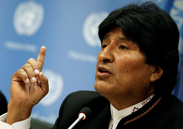 Bolivia's President Evo Morales speaks at a news conference after addressing a United Nations General Assembly special session.