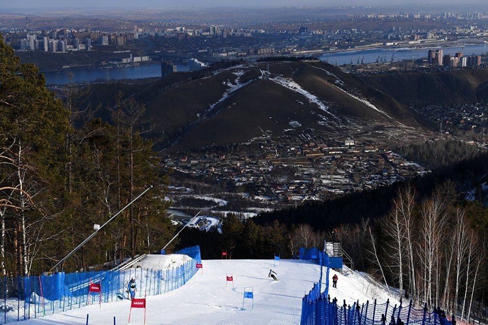 La pista dello slalom gigante alle Universiadi di Krasnoyarsk 2019