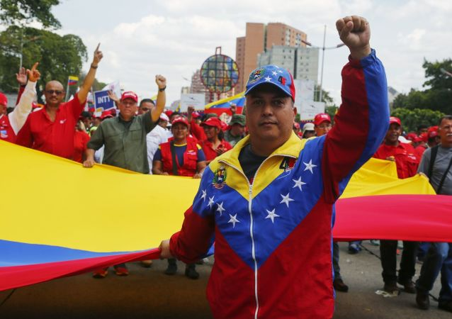 Manifestazione a sostegno del presidente Nicolas Maduro a Caracas, Venezuela.