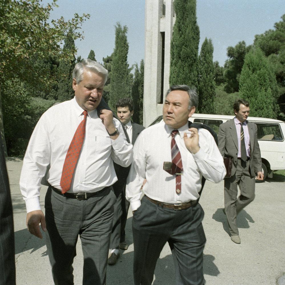 1991, Boris El'cin e Nursultan Nazarbayev in Russia
