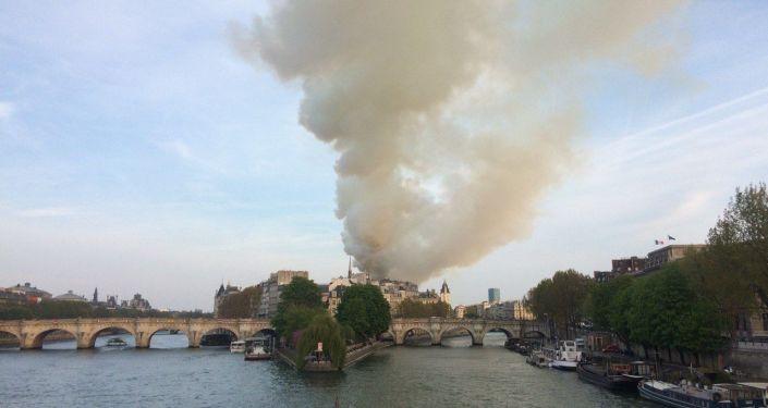 L'isola della Cattedrale di Notre-Dame avvolta dalle fiamme