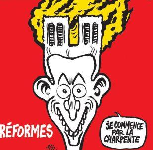 Vignetta di Charlie Hebdo dedicata all'incendio alla Cattedrale di Notre-Dame a Parigi