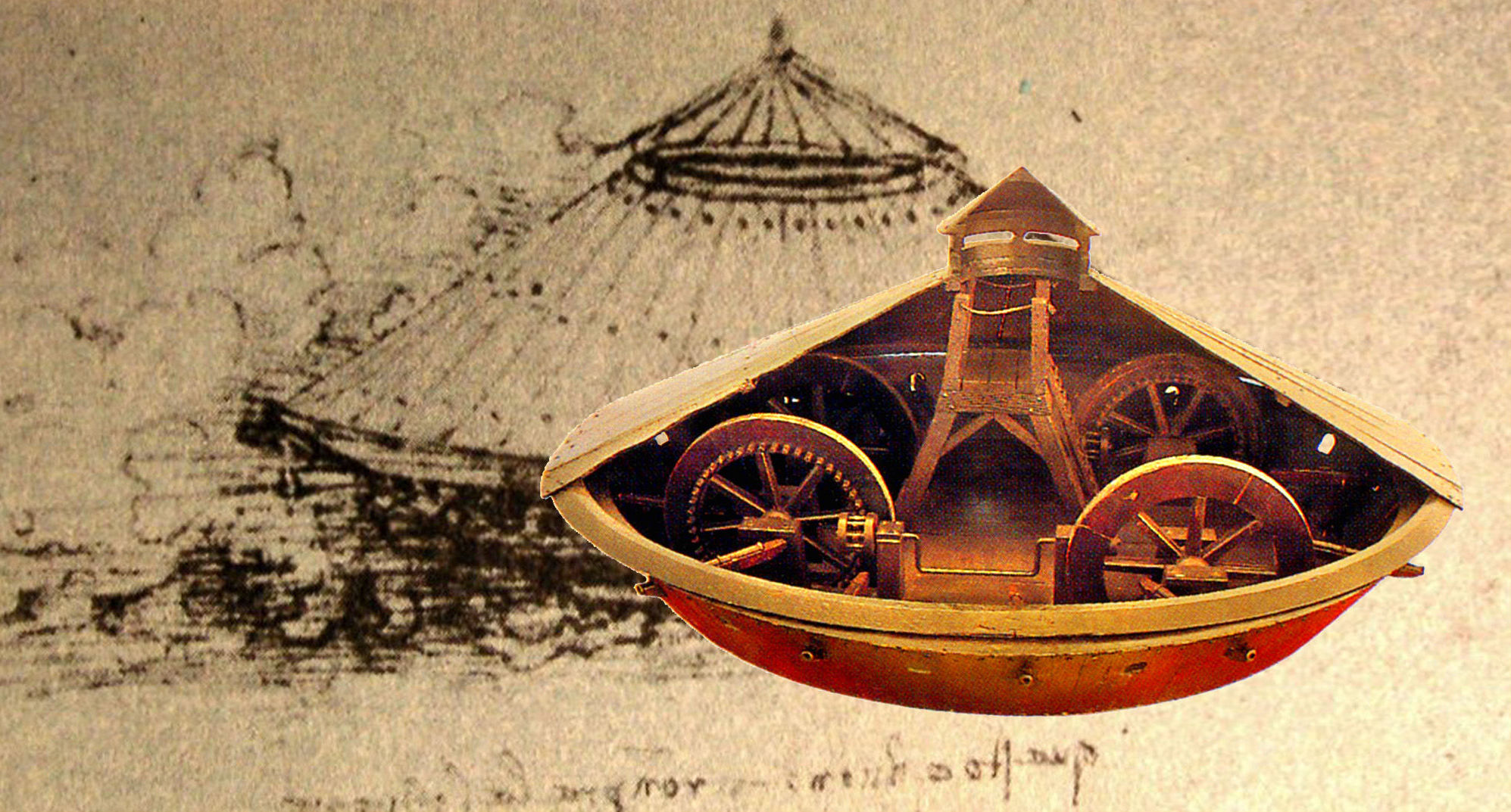 Carro coperto - disegno e ricostruzione (dal codice Arundel, British Library di Londra)