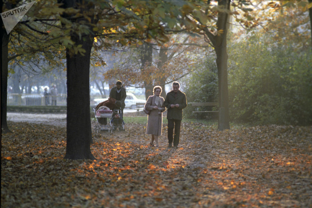 Parco Lazienki a Varsavia, 1985.