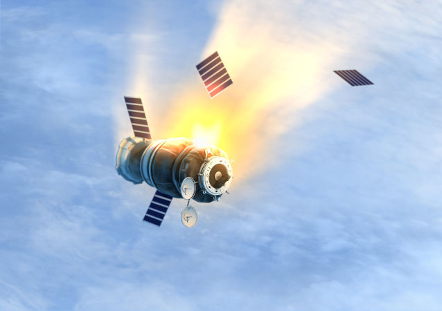 Satellite in fiamme