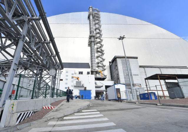 Il nuovo sarcofago che copre il reattore 4 della centrale nucleare di Chernobyl