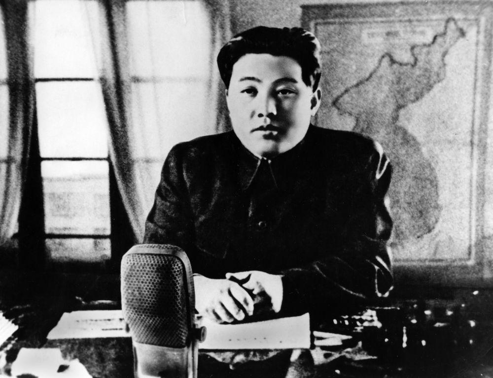 Kim Il Sung in un discorso radio annuncia l'entrata in guerra del Paese