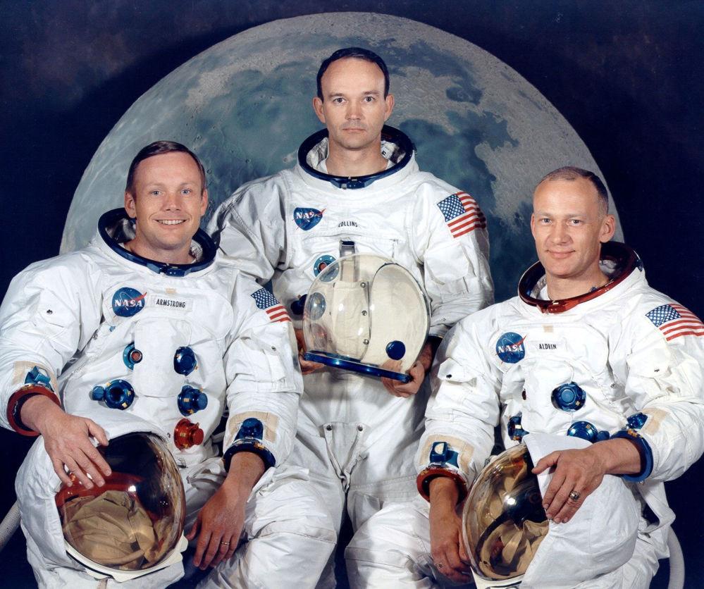 L'equipaggio dell'Apollo-11: il comandante Neil Armstrong, il pilota del modulo di comando Michael Collins ed il piloto del modulo lunare Buzz Aldrin