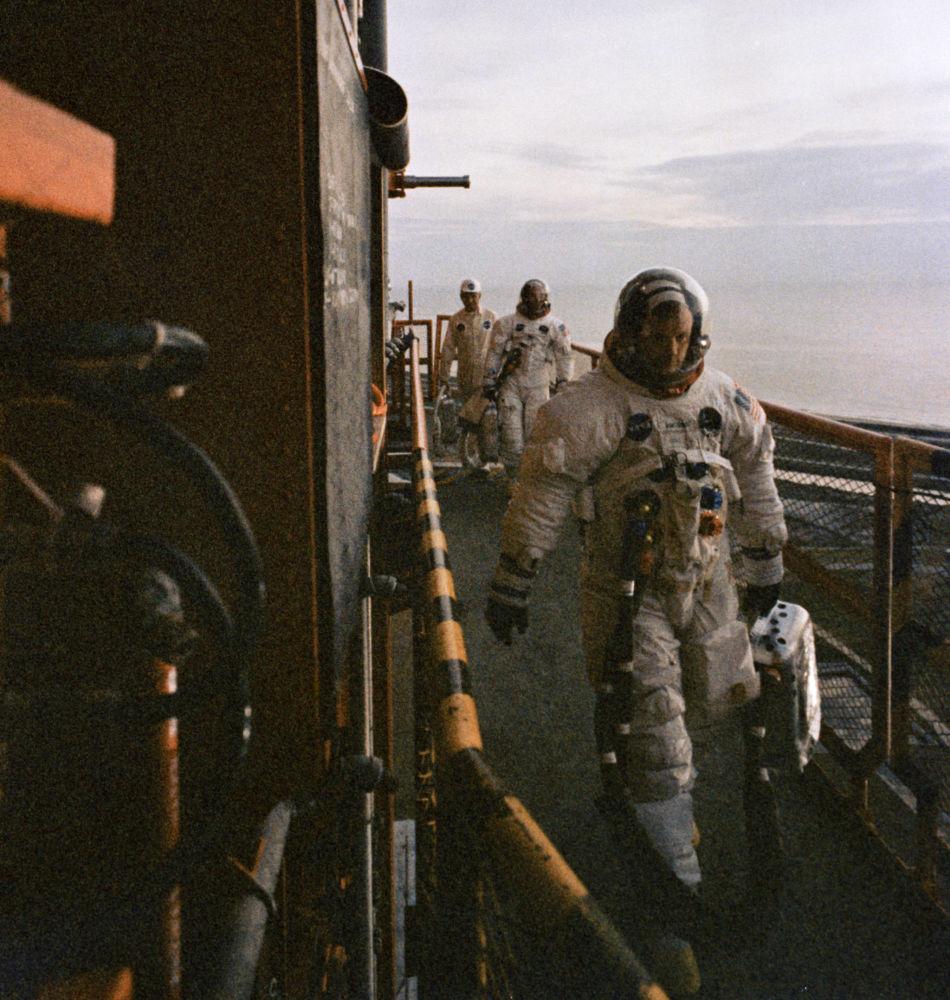 Neil Armstrong prima dell'allunaggio