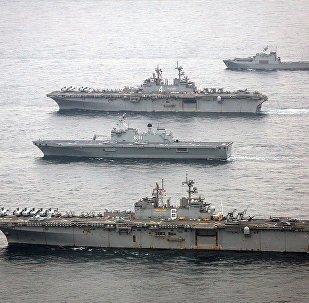 La nave portaelicotteri Boxer, seconda dall'alto in questa fotografia