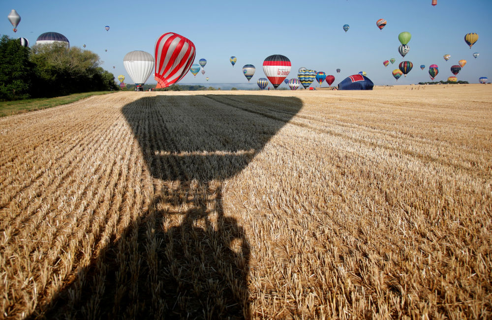 Le mongolfiere in volo sui campi di grano.