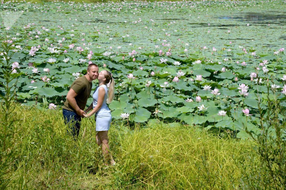 Due innamorati si scambiano tenerezze in un campo di fiori di loto