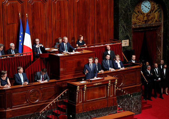 French President Emmanuel Macron (C) delivers a speech during a special congress gathering both houses of parliament (National Assembly and Senate) at the Versailles Palace, near Paris, France, July 3, 2017.