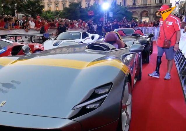 Alla festa di compleanno della Ferrari a Milano