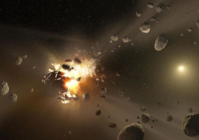 L'illustrazione della possibile collisione tra asteroidi