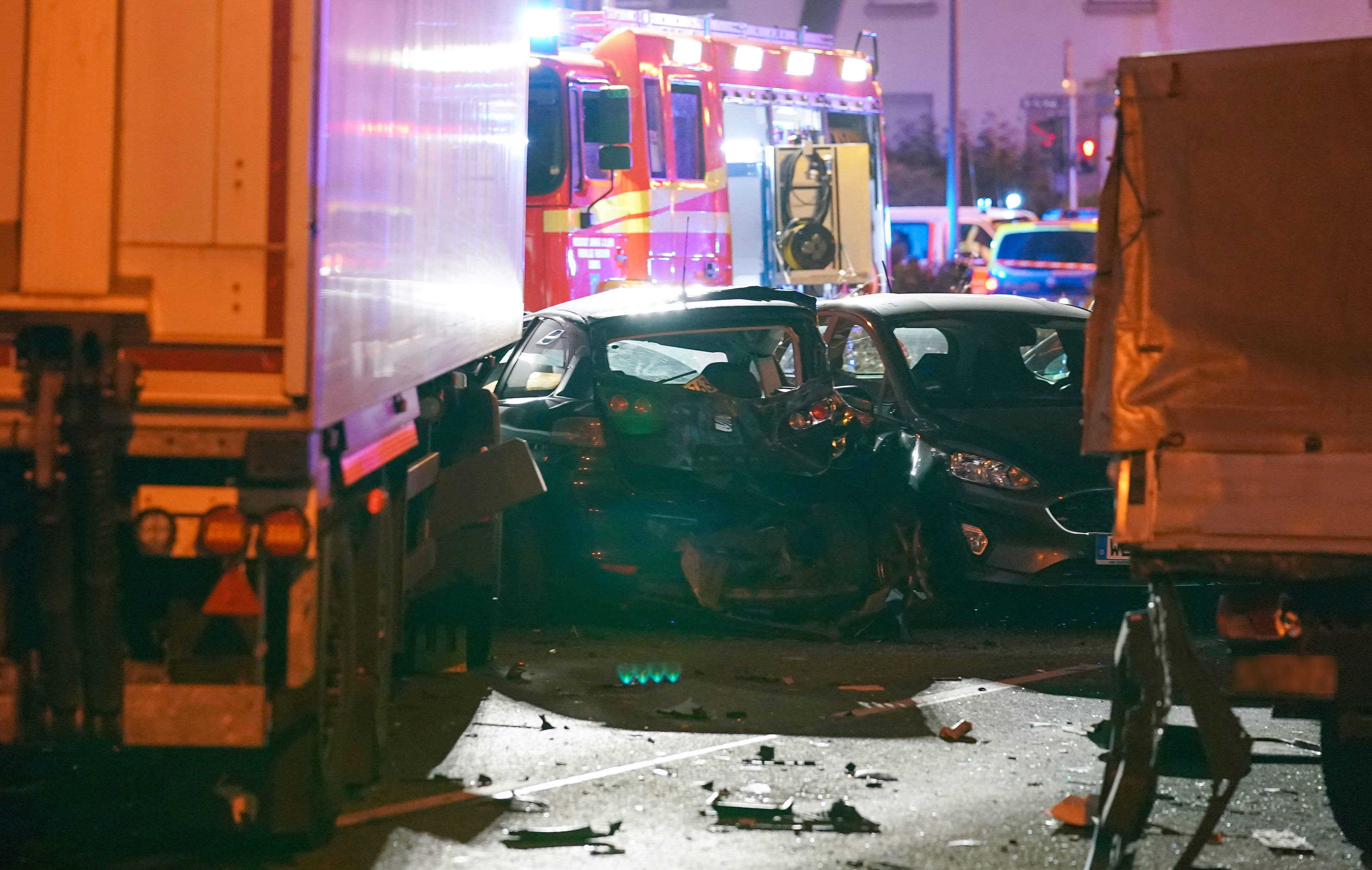 Picture shows the scene where a stolen truck crashed in to cars stopped at a red light in Limburg, western Germany, on October 7, 2019, leaving several people injured
